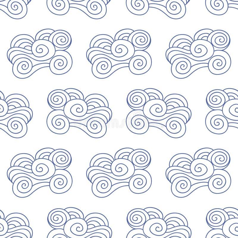 Wektorowy japończyk, Chińskie błękitne ocean fale, chmurnieje bezszwowego wzór ilustracja wektor