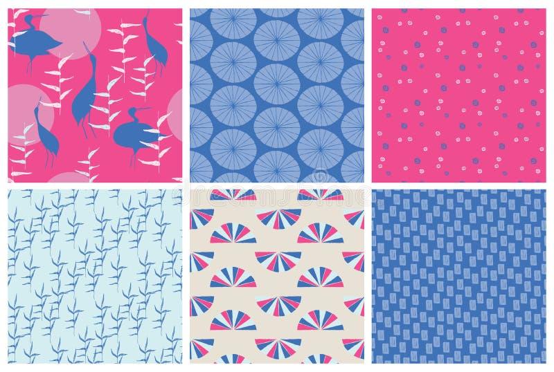 Wektorowy Japoński tradycyjny nawierzchniowy projekt Set ręka rysujący bezszwowi wzory w błękicie i menchii colours royalty ilustracja