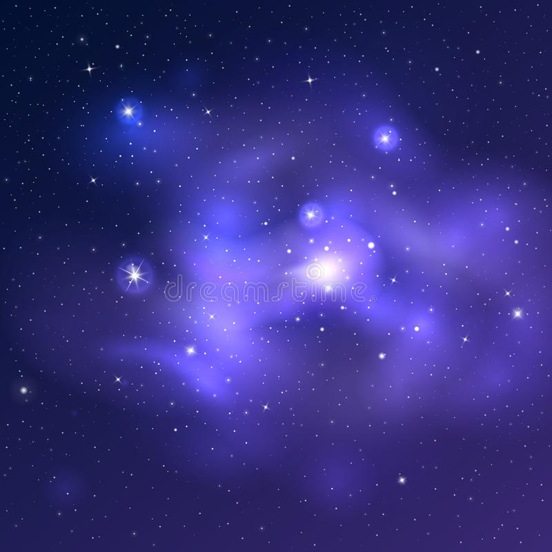 Wektorowy jaskrawy wszechrzeczy tło z błękitnymi nebulas i błyszczącymi gwiazdami ilustracja wektor