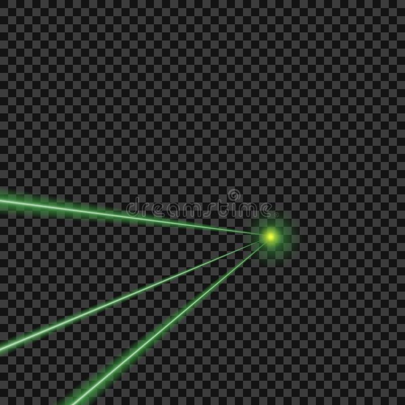 Wektorowy jaskrawy, zielony, wiązki laserowe na odosobnionym przejrzystym tle elementy projektu podobieństwo ilustracyjny wektora ilustracji