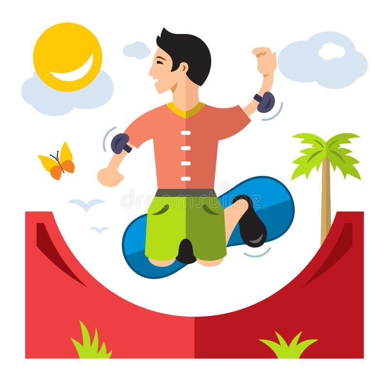 Wektorowy Jeździć na deskorolce Mieszkanie kreskówki stylowa kolorowa ilustracja ilustracji