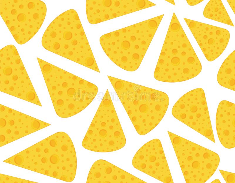 Wektorowy jedzenia i napoju wektorowy bezszwowy wzór z plasterkami ser ilustracja wektor
