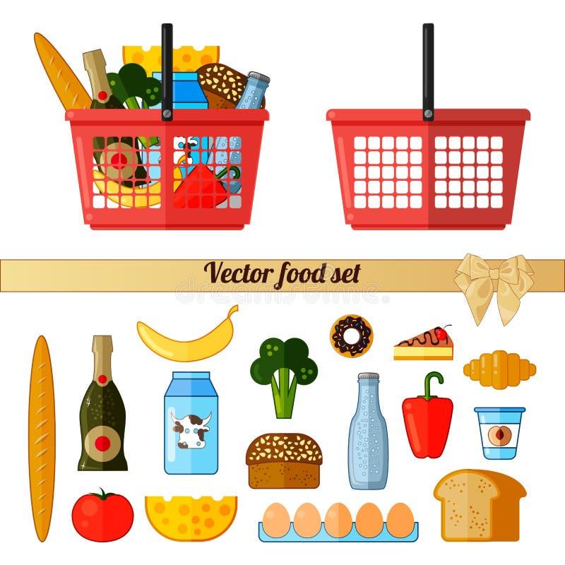 Wektorowy jedzenie set Supermarketa czerwony kosz z jedzeniem Na bia?y tle odosobneni przedmioty ilustracja wektor