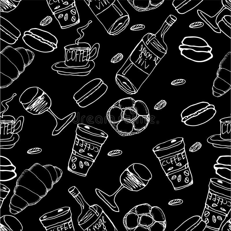 Wektorowy jedzenie wzór tło rysująca ręka bezszwowa Butelka ilustracji
