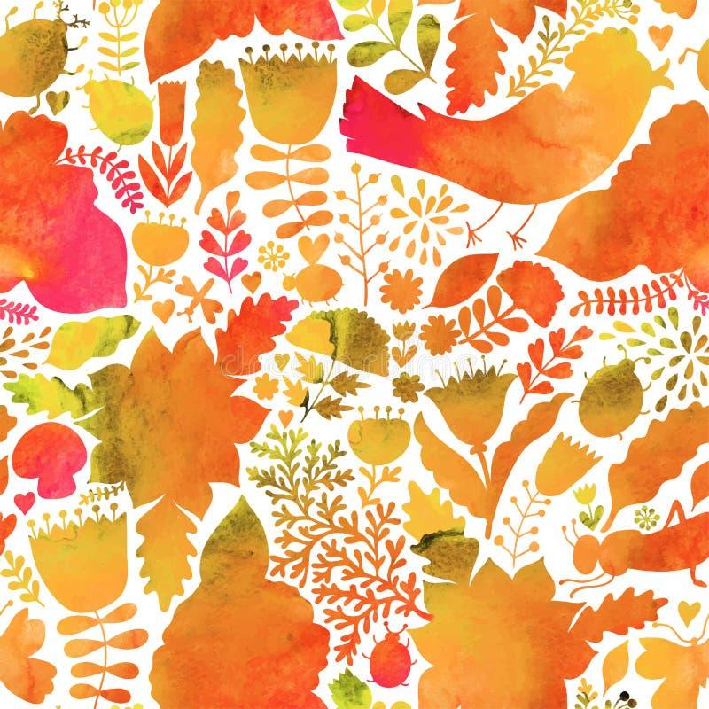 Wektorowy jesieni akwareli wzór Handpainted tekstura z flowe ilustracji