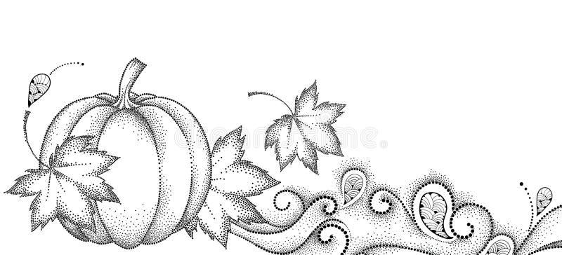 Wektorowy jesieni tło z kropkowanymi liśćmi klonowymi, zawijasami i banią odizolowywającymi na białym tle, Dziękczynienie dnia tł ilustracji