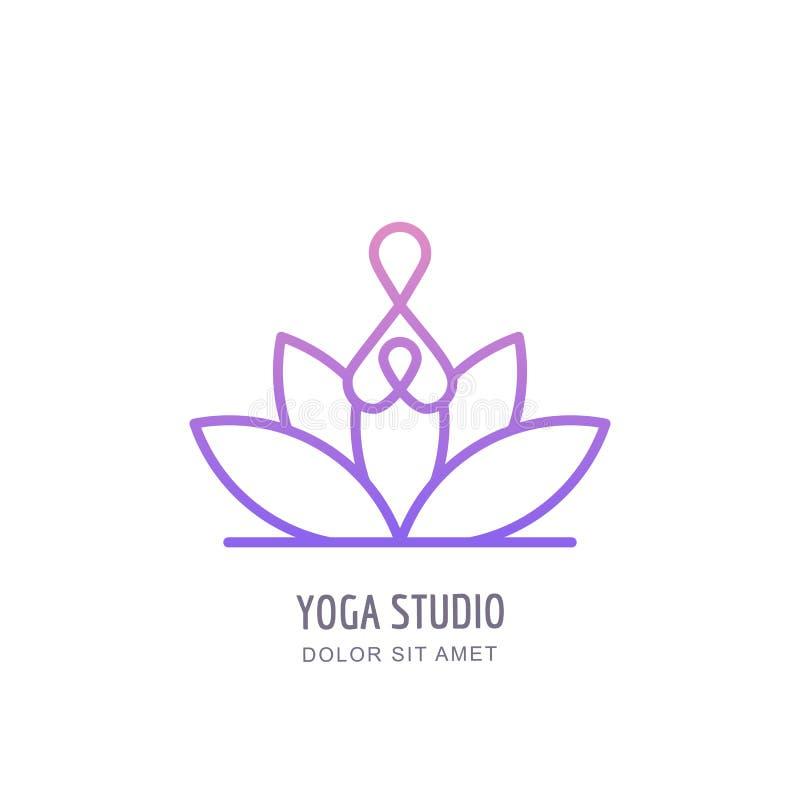 Wektorowy joga szkoły lub studia konturu logo, emblemat, etykietka projekta szablon Abstrakcjonistyczna ludzka sylwetka w lotosow ilustracji