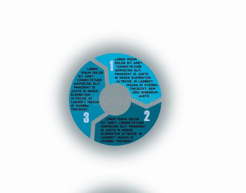 Wektorowy Kółkowy Strzałkowaty diagram z cieniem ilustracji