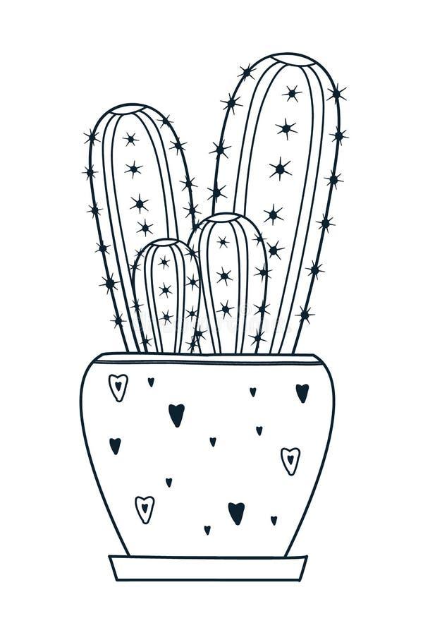 Wektorowy kaktus Doodle stylowy Czarny kolor ilustracji