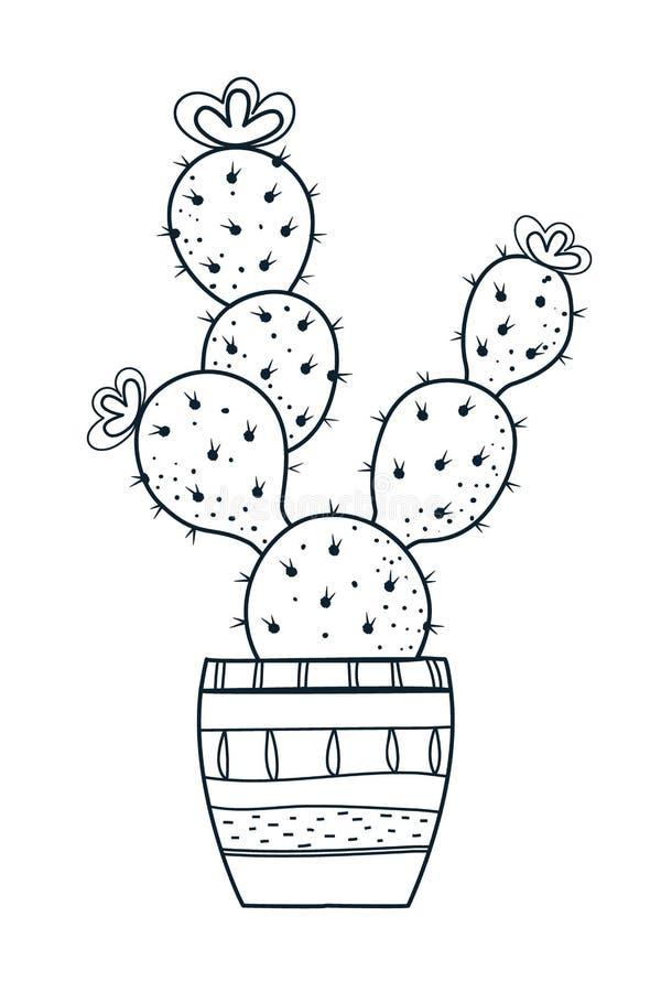 Wektorowy kaktus Doodle stylowy Czarny kolor pojedynczy bia?e t?o royalty ilustracja