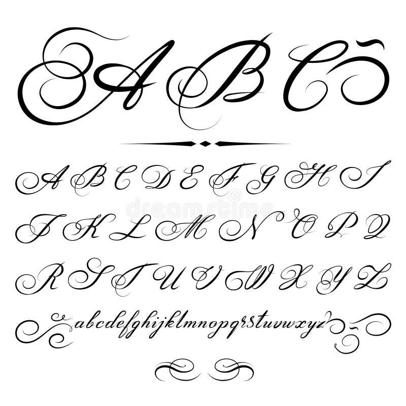 Wektorowy kaligraficzny Abecadło zdjęcia royalty free