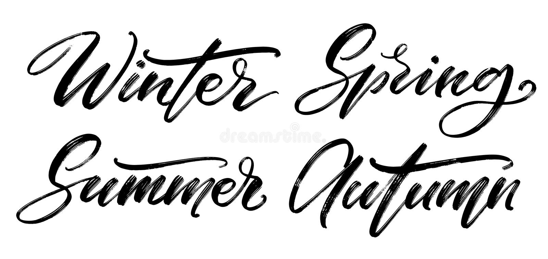 Wektorowy kaligraficzny set E r Zimy, wiosny, lata i jesieni słowa na bielu, royalty ilustracja