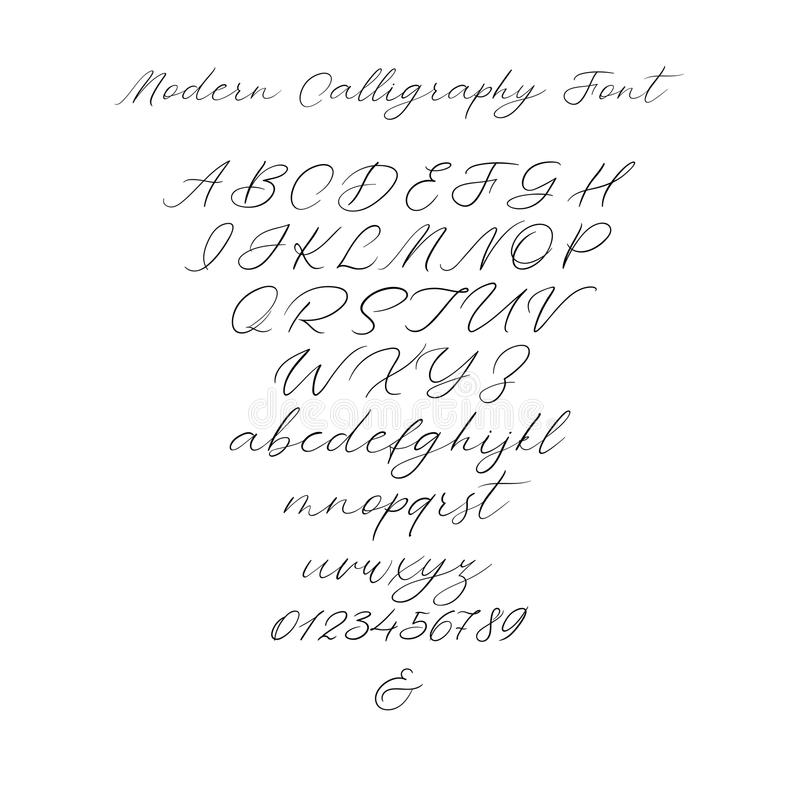Wektorowy kaligrafii abecadło Wyłączni listy Dekoracyjna ręcznie pisany szczotkarska chrzcielnica dla Ślubnego monograma, logo, z royalty ilustracja