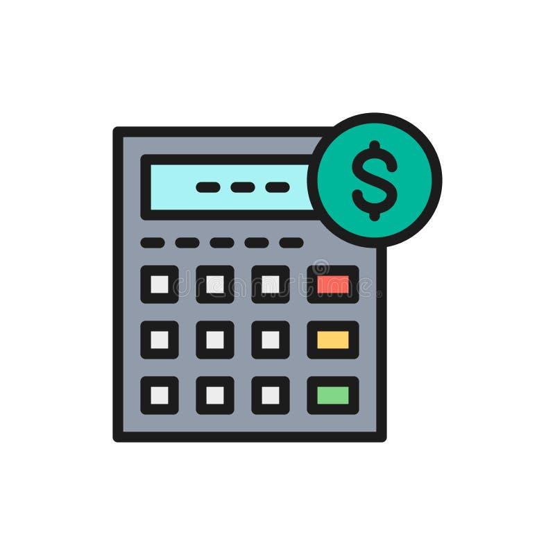 Wektorowy kalkulator, księgowość, księgowość, gospodarka koloru linii płaska ikona ilustracji