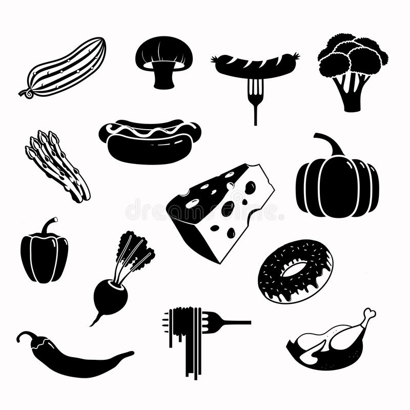 Wektorowy karmowy czarny ikona set ilustracji