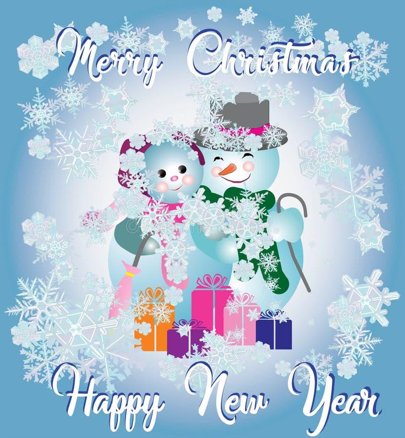 Wektorowy kartka z pozdrowieniami dla bożych narodzeń i nowego roku Plakat dla sztandarów Para bałwany przeciw tłu płatki śniegu ilustracja wektor