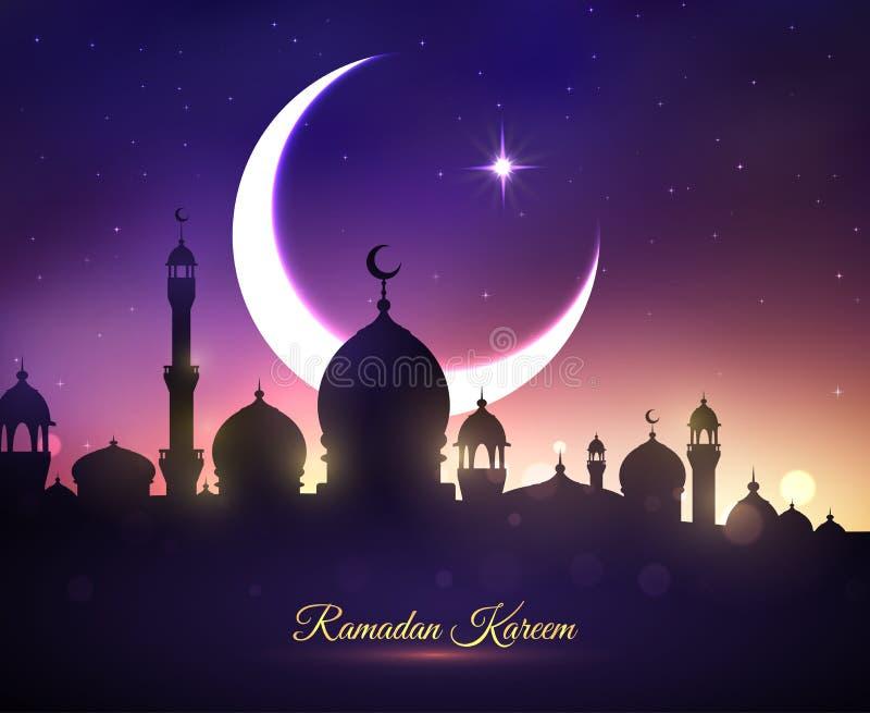 Wektorowy kartka z pozdrowieniami dla Ramadan Kareem wakacje royalty ilustracja