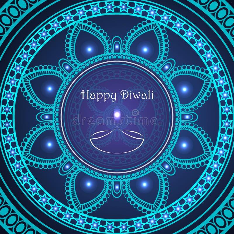 Wektorowy kartka z pozdrowieniami indyjski festiwal świateł szczęśliwy diwali royalty ilustracja