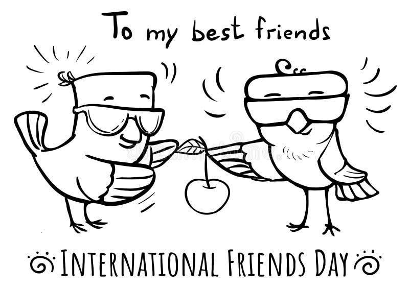 Wektorowy kartka z pozdrowieniami przyjaciół dnia ptak daje wiśni ptak ilustracji