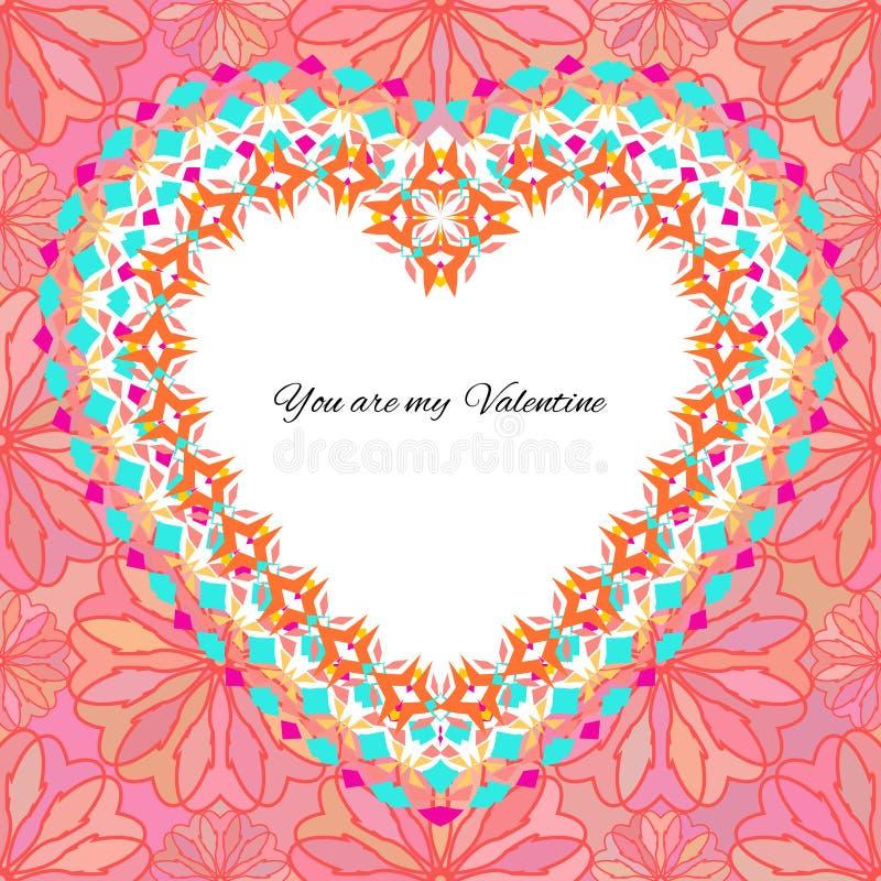 Wektorowy kartka z pozdrowieniami szablon valentine ` s dzień Gratulacyjni ` s tła z romantycznym wzorem, sercem, tekstem i etnic royalty ilustracja