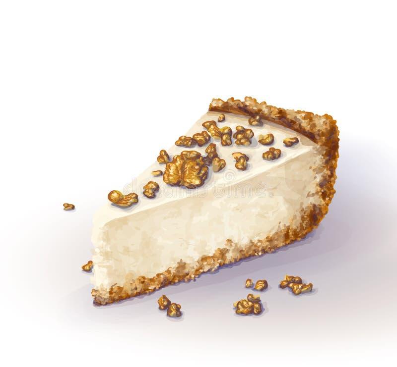 Wektorowy kawałek cheesecake tort z powiewnym, czułym i delikatnym curd serem, Chips i rozdrobni tort z plecy ilustracja wektor
