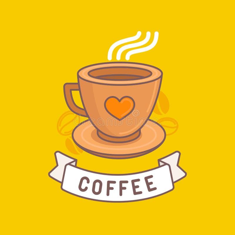 Wektorowy kawowy emblemat w modnym liniowym stylu royalty ilustracja