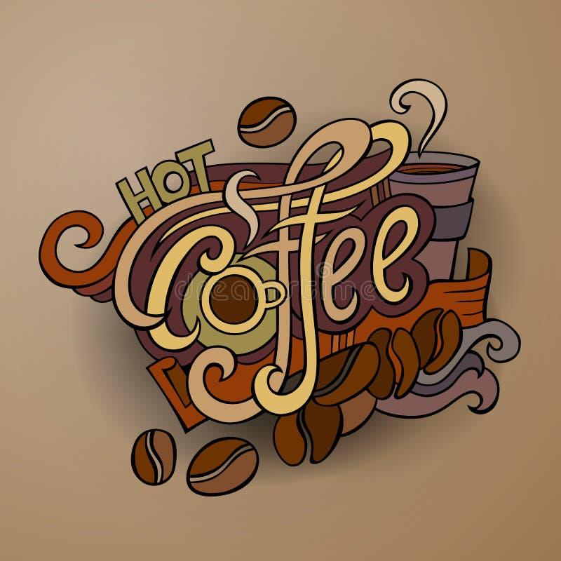 Wektorowy kawowy ręki literowanie ilustracja wektor