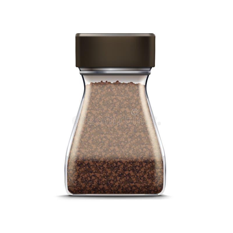 Wektorowy Kawowy Szklany słój Pakuje pakunek Odizolowywającego ilustracja wektor