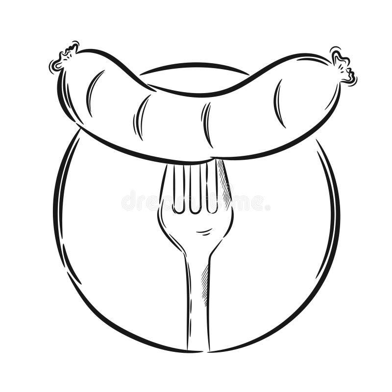 Wektorowy kiełbasiany rozwidlenie ilustracja wektor