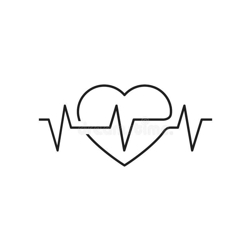 Wektorowy kierowy kontur, dumbbells i kardiogram, Ikona symbolizuje zdrowie sport lifestyle Kreskowej sztuki eps jpg royalty ilustracja