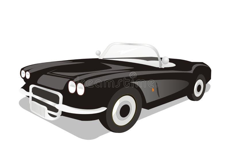 Wektorowy klasyczny odwracalny czarny samochód ilustracji