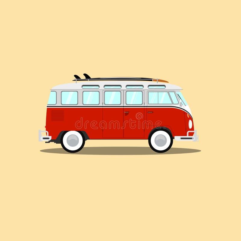 Wektorowy klasyczny retro autobus z surfboard ilustracja wektor