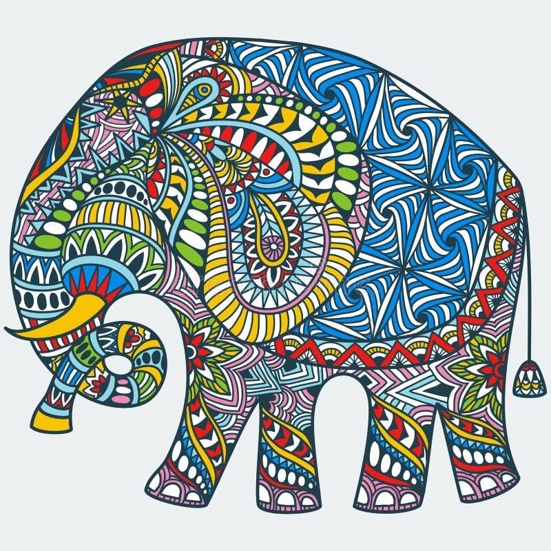 Wektorowy kolor dekorujący Indiański słoń ilustracja wektor
