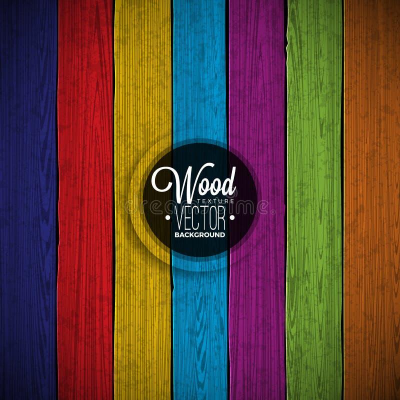 Wektorowy kolor malujący drewniany tekstury tła projekt Naturalnego ciemnego rocznika drewniana ilustracja royalty ilustracja