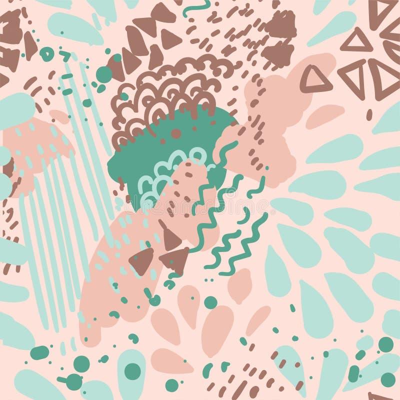 Wektorowy kolor maluje bezszwowego wzór geometryczny struktura abstrakcyjna Pastelowi colours marmurkowaty ilustracja wektor
