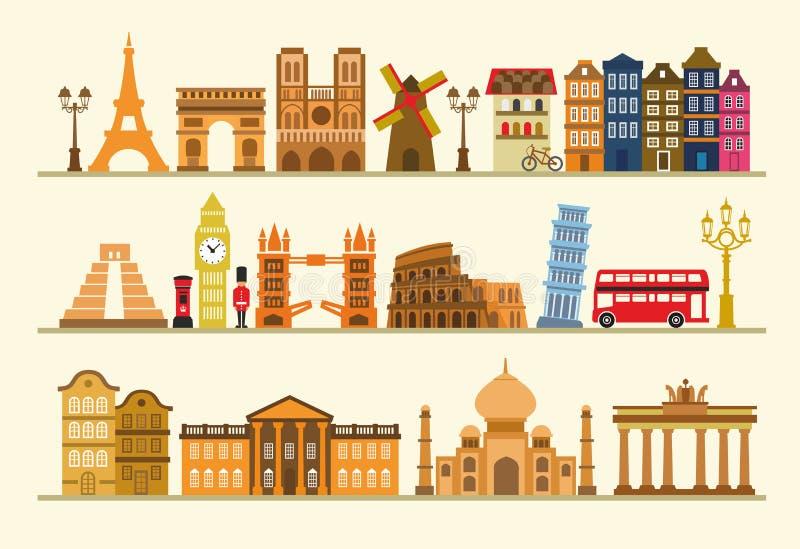 Wektorowy kolor podróży ikony set royalty ilustracja