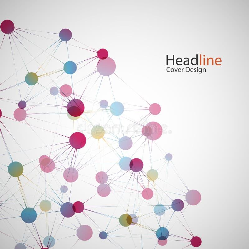 Wektorowy kolor sieci związek i DNA atom ilustracja wektor