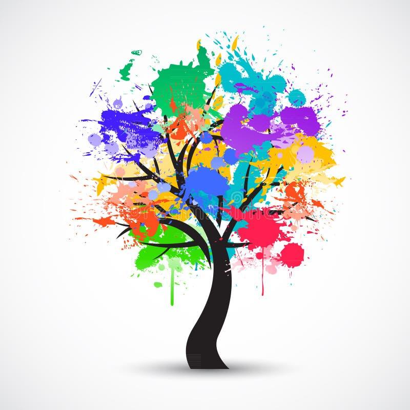 Wektorowy Kolorowy abstrakcjonistyczny drzewny tło royalty ilustracja