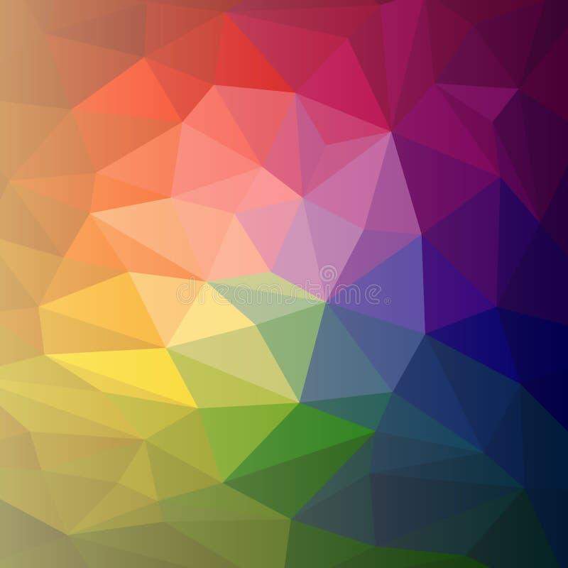 Wektorowy kolorowy abstrakcjonistyczny tęcza wieloboka tło ilustracja wektor
