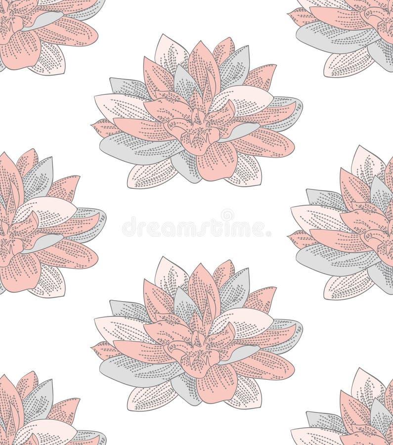 Wektorowy Kolorowy Bezszwowy wzór z Patroszonymi kwiatami royalty ilustracja