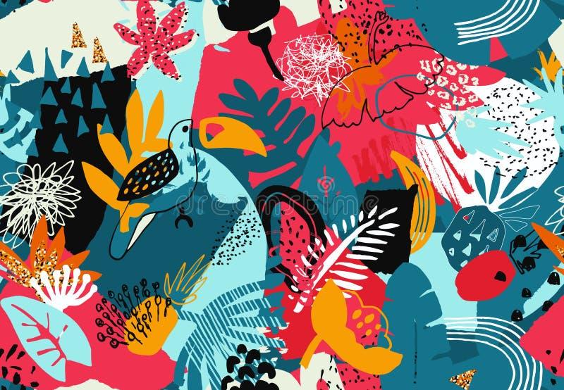 Wektorowy kolorowy bezszwowy wzór z tropikalnymi roślinami, kwiaty ptaki, ręka malowali teksturę ilustracji