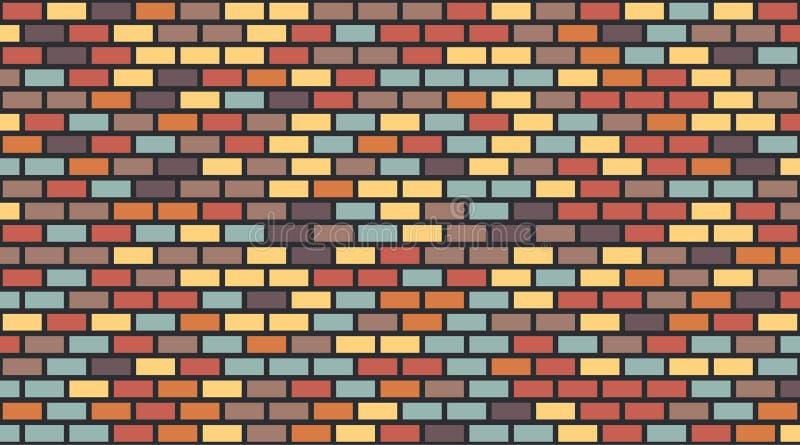 Wektorowy kolorowy czerwony błękitnego brązu ściany z cegieł żółty fiołkowy ciemny tło Starej tekstury miastowy kamieni ilustracji