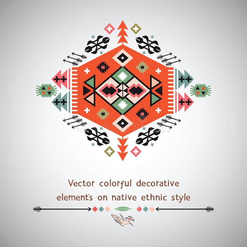 Wektorowy kolorowy dekoracyjny element na miejscowym ilustracji