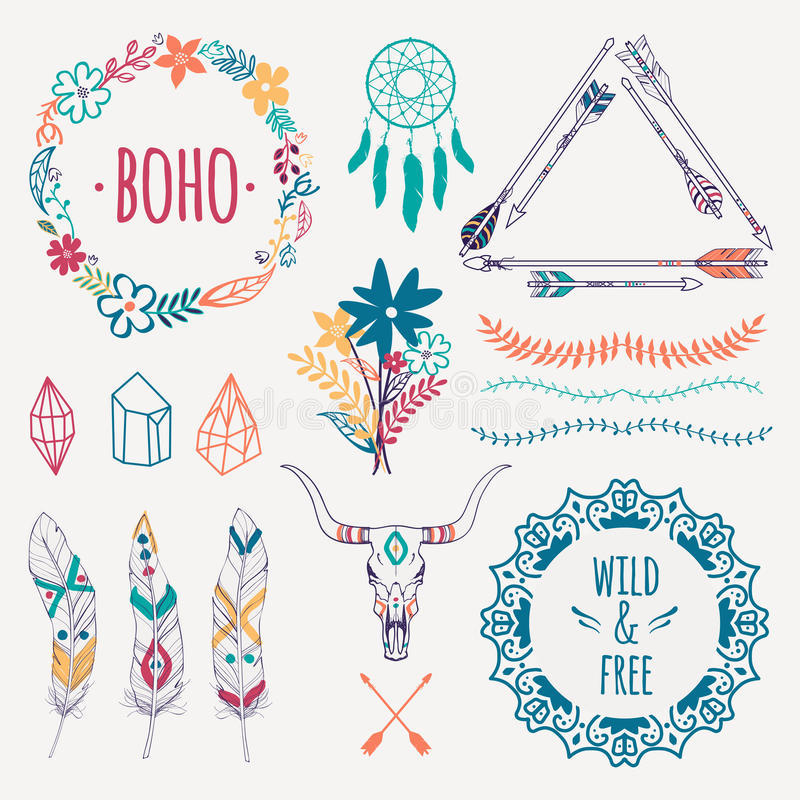 Wektorowy kolorowy etniczny set z strzała, piórka, kryształy ilustracja wektor