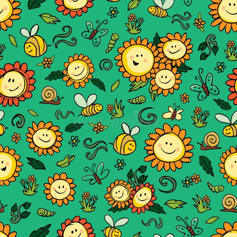 Wektorowy kolorowy słoneczników i pszczół powtórki wzór z zielonym tłem Stosowny dla opakunku, tkaniny i tapety prezenta, ilustracji