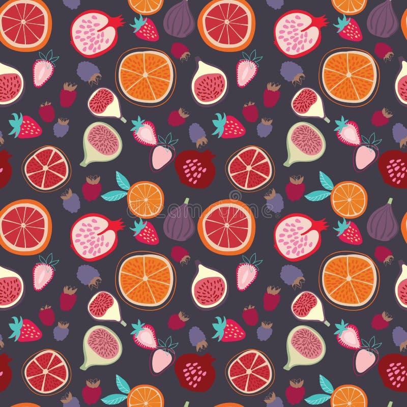 Wektorowy kolorowy smakowity modny tropikalnych owoc bezszwowy wzór na ciemnym tle royalty ilustracja