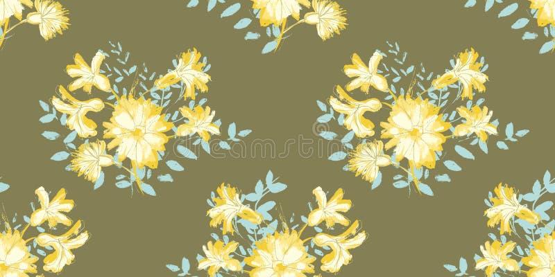 Wektorowy koloru żółtego i białego kwiatu bukiet z bławych liści bezszwowym wzorem na brązu tle royalty ilustracja