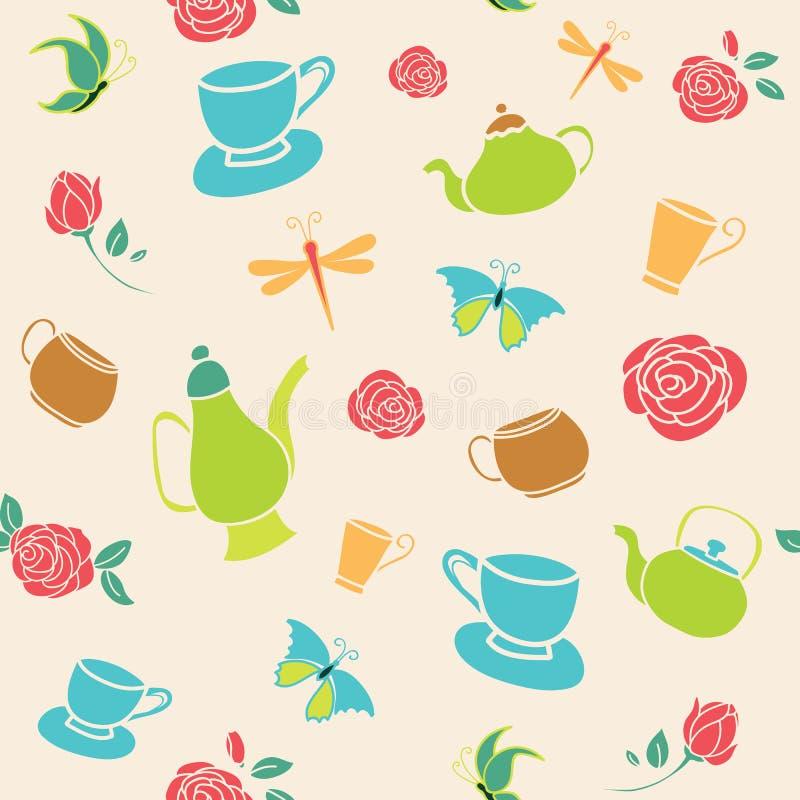Wektorowy koloru żółtego ogródu herbacianego przyjęcia bezszwowy deseniowy tło royalty ilustracja