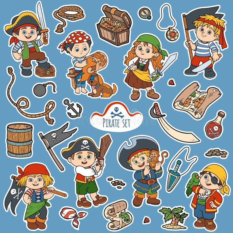 Wektorowy koloru set pirat rzeczy i charaktery piraci, ilustracja wektor