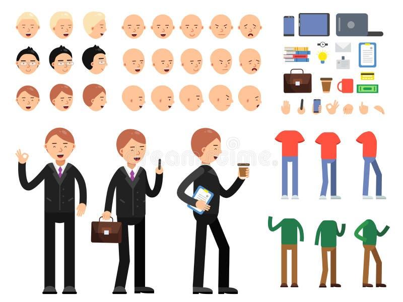 Wektorowy konstruktor biznesowi charaktery Mężczyzna w kostiumu z różnymi emocjami i pozami royalty ilustracja